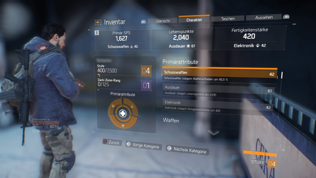 Tom Clancy's The Division™ Beta Inventar - Charakter