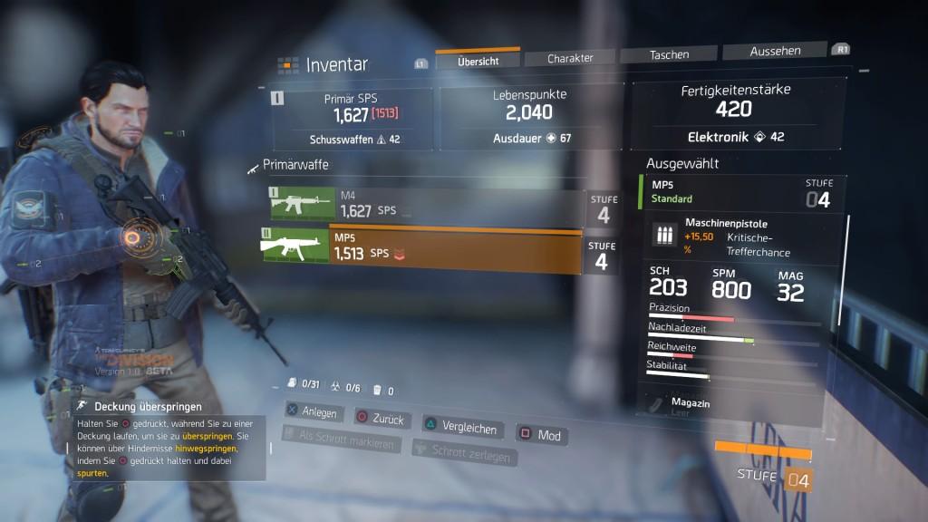 Tom Clancy's The Division™ Beta - Inventar Primärwaffen