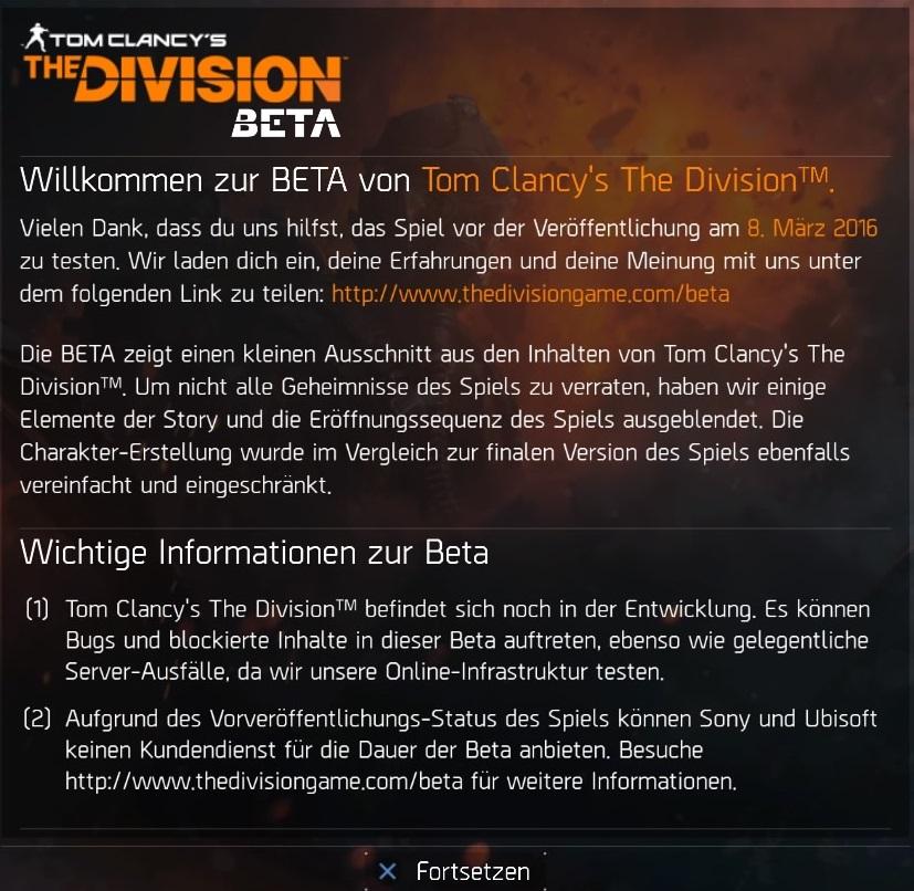 Tom Clancy's The Division™ Beta_Ubisoft_Hinweis